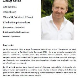 Flyer Detlef Kolde auf Rumänisch