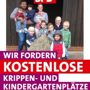 """Wahlplakat """"Kostenlose Krippen- und Kindergartenplätze"""""""