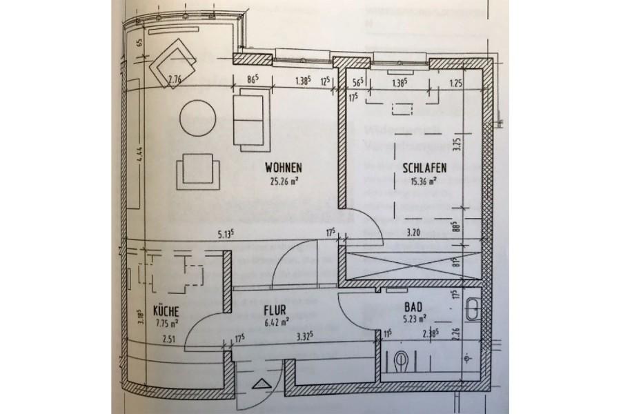 Aufteilung einer typischen Single-Wohnung