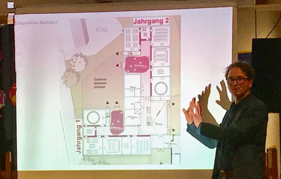 Architekt Michael Schröder bei seinem Vortrag