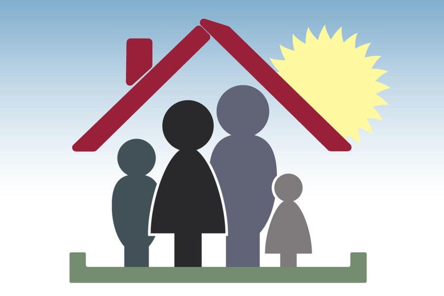 Grafik einer Familie unter einem Dach