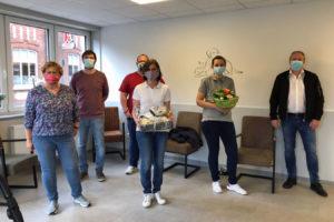 Von links mit Corona-Schutzmaske: Renate Biemann, Oliver Winkler, Dr. Sonja von Berg, Conny Nachtigall, Detlef Kolde